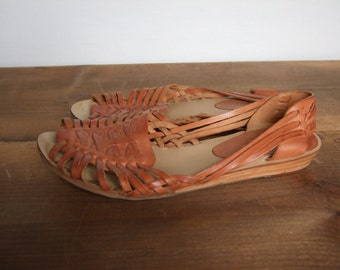 Vintage Huaraches Woven Leather Sandals Women's 6 1/2B