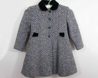 Little Girls Bambury Coat - Kingscourt Tweed - 1950s-60s - About 6-7 size