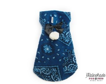 Indigo blue fleece with paisley print for dogs. Pet clothing Tg. XS -S- M