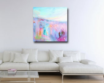 Large Wall Art, Landscape Canvas, Giclee Print from Painting, Abstract Landscape Print, Large Print, Pink Canvas Print
