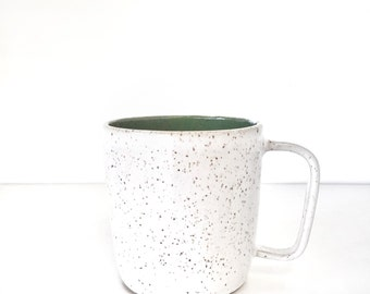 Coffee cup mug -  cappuccino mug ceramic in okive green and white speckled latte large