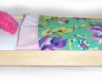 Doll Bed - Lilac Garden - Fits 18 inch dolls and AG dolls - American Girl Furniture