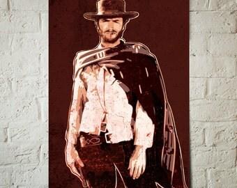 Clint Eastwood, Cowboy Western, Movie Star, Fan Art Celebrity Portrait, Art Print, Movie, Poster, Western Decor, Man Cave Art, Celebrity Art
