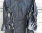 NEW Black Ribbon Trim 3/4 sleeve Shirt; S34RB01