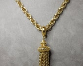 MONET Signed Gold Tassel Pendant & Heavy Twisted Link Chain Necklace
