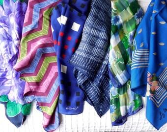 6 ECHO, CLAIBORNE Blue Silk Scarves Scarf 3 Square & 3 Long