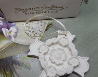Margaret Furlong Bisque Porcelain Cross Ornament: 1998 Blooms of Hope    KBC28