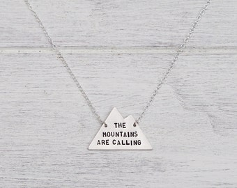 The Mountains Are Calling Sterling Silver or Brass Necklace - Can Be Personalised
