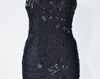Sexy Gatsby beaded halter fringe dress