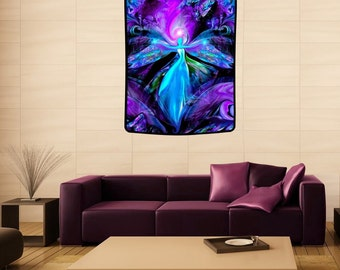 "Third Eye Art, Purple Wall Decor, Spiritual Angel Tapestry, Meditation Room Intuition ""The Seer""  40"" x 50"""