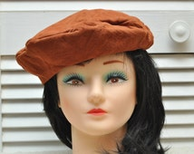 Newsboy Style Vintage Cap Beret Hat 60s does 20s/Butter Soft Sienna Brown/Mens Womens Youth Teen/Theater Costume Retro 1920s small to medium