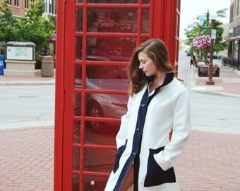 Vintage, Mid Century, Ivory, Navy Blue, Basic, All Weather, Polyester, Misty Harbor, Rain Coat, Women's M/L