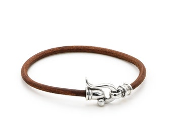 """LEATHER BRACELET/ brown leather bracelet/ silver sterling clasp/ 3 m""""m leather cord/ silver leather jewelry / woman handmade jewelry /"""
