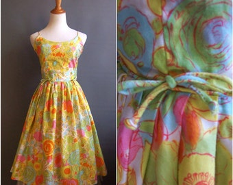 1950s spaghetti strap sundress 50s dress watercolor flowers/cabbage butterflies/berries ink-drawing print cotton sateen 60s 1960s sun dress