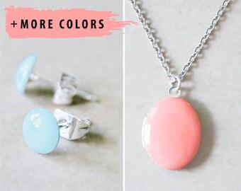Silver Locket Necklace & Silver Stud Earrings - Enameled Jewelry Set
