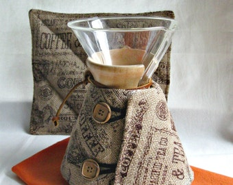 Burlap Chemex Cozy and Warming Pad- 6 cup size wooden handle-coffee motif-unisex gift idea