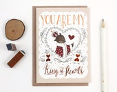 Valentine's Day Card - You Are My King of Hearts - Copper Foil Greeting Card