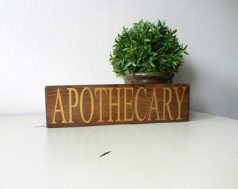 Apothecary Wood Sign - Apothecary Cabinet Sign - Apothecary Shelf Sitter Sign - Farmhouse Decor - Gold Apothecary Sign - Kitchen Witch Sign