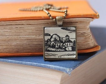 Maud Hart Lovelace pendant | book jewelry | Deep Valley necklace | vintage ink drawing | Lois Lenski | literary gift
