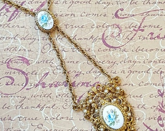 Romantic Gilded Revival Regal Blue Rose Filigree Pendant, Florenza Style