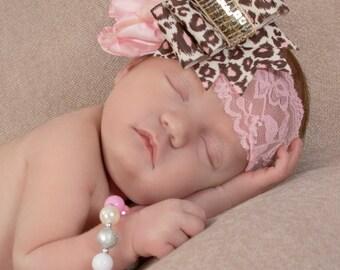 Pink Silk and Leopard Headband