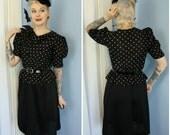 Vintage 80s does the 40s Womens Polka Dot Peplum Dress Vintage Size 9 Modern M/L Rockabilly Goth Retro Pinup