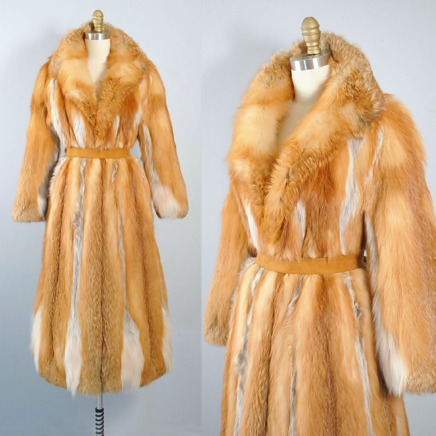 Reserved red fox fur coat full length belted by geronimovintage