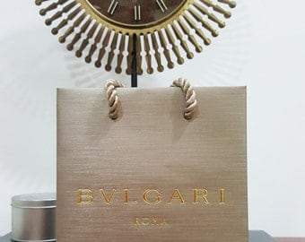 Small New BVLGARI Matte Gold Gift Bag, Carrier with gold strings - Re-gifting, Wedding, Bridal, for her - Just obtained - Singapore