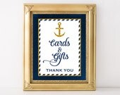 Cards and Gifts Printable Sign, Nautical Navy Blue & Gold Shower Table Sign, Wedding, Baby, Anchor, 2 Sizes, INSTANT DOWNLOAD