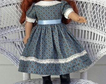 Steel Blue Civil War Era Doll Dress 1860's Historical-Handmade to Fit 18 Inch Dolls Like Madame Alexander and American Girl Dolls