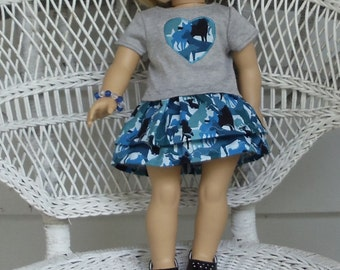 Blue Camo Puppy Skirt Outfit- Handmade Will Fit 18 Inch Dolls Like American Girl
