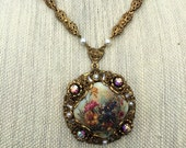 Vintage floral pendant necklace, Estate Jewelry, 1960s Retro Jewelry