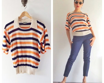 Hepburn 50s knit top - rockabilly knit top - stripped vintage top - pinup top - small medium - 50s fashion