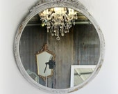 C H I P P Y   Round Shabby Chic Mirror French Country Nursery Vanity