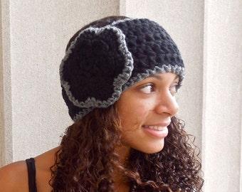 Crochet Headband, Flower Headband, Ear Warmer, Crochet, Black, Gray, Women,Teen, Chunky,