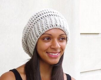 Crochet Slouchy Hat, Tam, Ribbed, Beehive Hat, Women, Men, Teen, Tam,  Adult, Color Linen
