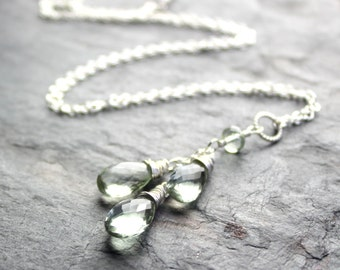 Green Amethyst Necklace Prasiolite Necklace, Sterling Silver Teardrop Pendant Necklace Mint Gems