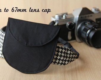 Lens Cap Holder for DSLR Camera Strap - Solid Black, Up to 67mm Lens Cap - Ready to Ship