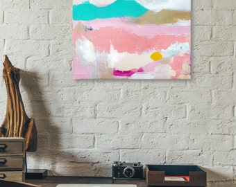 Wandermellow // Modern Abstract Original Acrylic Painting on Canvas, Fresh, Colorful, Abstract Landscape, Teal, Pink, Neutral, Lisa Barbero