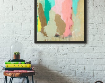 Wondermellow // Modern Abstract Original Acrylic Painting on Canvas, Fresh, Bright, Colorful, Teal Blue, Pink, Neutral, Taupe, Lisa Barbero