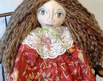 Primitive Fall Art Doll, Fall Autumn cloth art doll, hand made doll by Morning Mist Designs