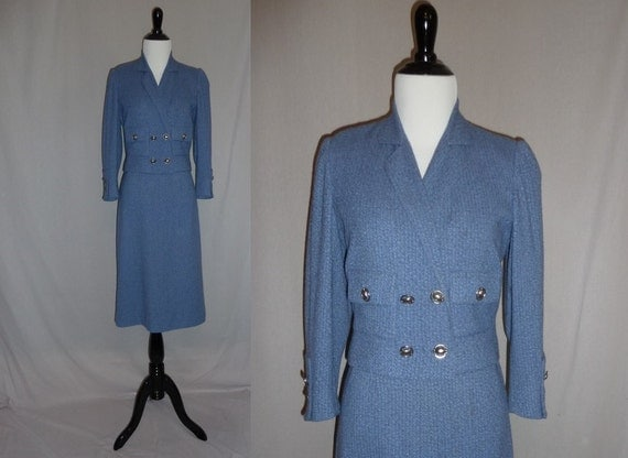 50s Skirt Suit - Blue Cropped Double-Breasted Tweed Jacket - Silver Turtle Buttons - Vintage 1950s - M