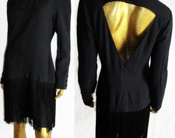 Vintage Backless Fringe Dress/Little Black dress SALE