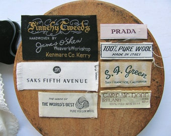 Vintage Clothing Tags Labels SAKS S F Green Finnehy Tweed Carraig Donn Designer Brand Name Clothes Virgin Wool Fabric Supplies Altered Art