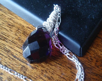 Amethyst Wired Pendant on a Sterling Silver Chain, Purple Necklace, Deep Purple Necklace