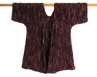 Hand Knit Jacket, Short Sleeve, Burgundy, Olive, Gold, Vertical Stripes, Cotton Chenille, Rayon, Baby Alpaca, Handmade, Soft, Luxurious
