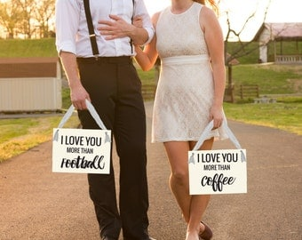 I Love You More Than... Banners | Set of 2 Wedding Banners Bride & Groom Engagement Pictures Photo Booth Prop | Funny Signage 1141 BW