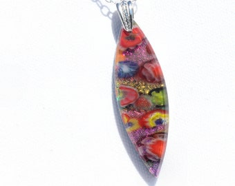 Fused Glass Jewelry, Dichroic Pendant, Dichroic Glass, Bright, Colorful, Festive, Fiesta, Pink Yellow Red Glue Green (Item #10756-P)