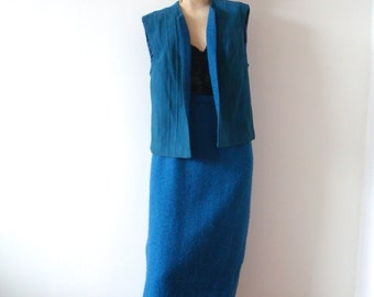 1960s Pencil Skirt and Vest 2 Piece Suit - mod designer vintage
