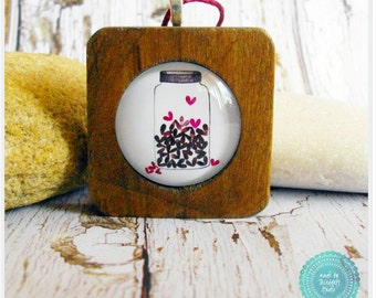 Mason Jar Full of Love Hearts Wood Square Necklace on Burgundy Red Waxed Cotton Cord